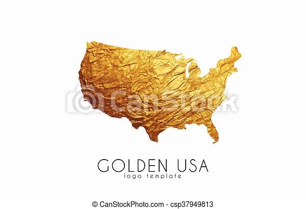 Golden usa logo. usa map golden design.