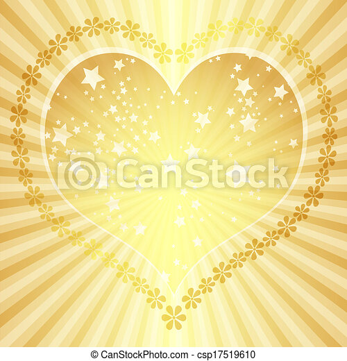 Golden valentine frame with big heart and rays (vector eps 10)