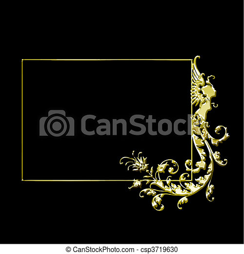 Golden Vector Frame Vintage Gold Frame Isolated On Black Background