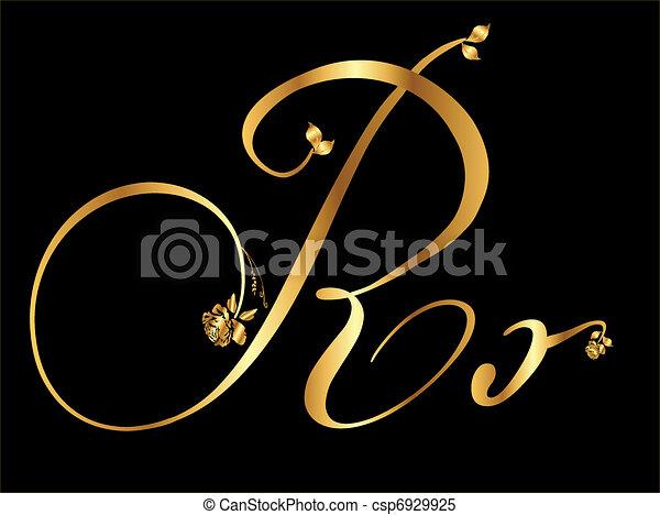 Golden vector letter R  - csp6929925