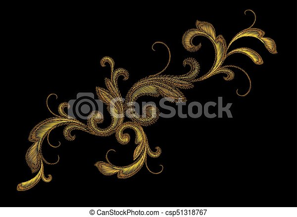 Golden victorian embroidery floral ornament stitch texture