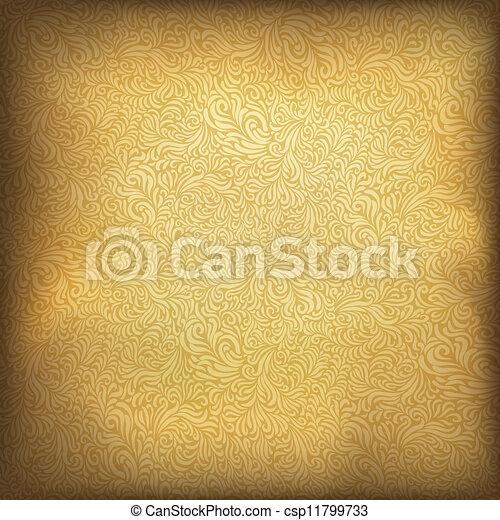 Golden vintage background. Vector illustration, EPS10. - csp11799733