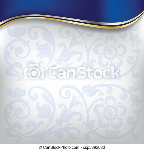 golden wave on blue background - csp5392838