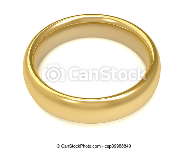 Golden wedding ring concept 3d illustration Golden wedding