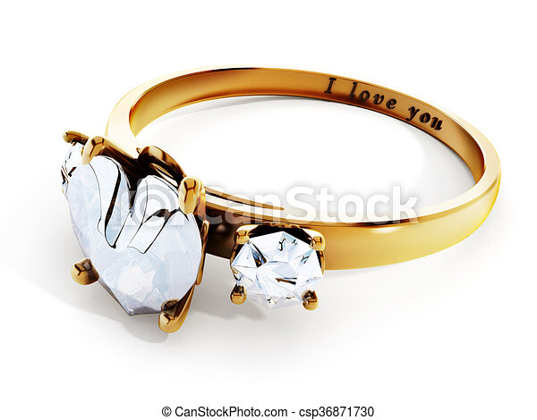 Golden wedding ring with heart shaped diamond and i love you