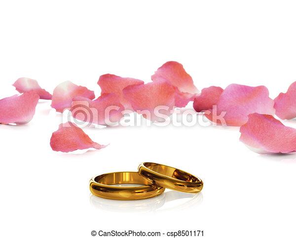 Golden wedding rings - csp8501171