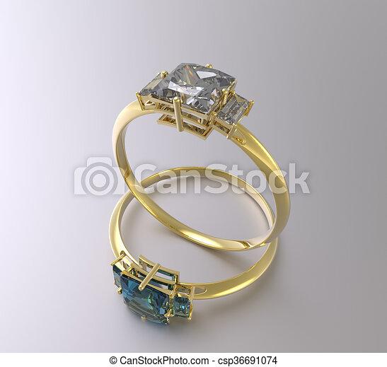 Golden wedding rings with diamonds. 3D rendering - csp36691074