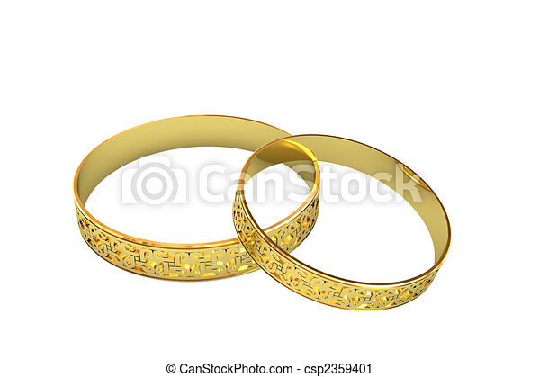 Golden wedding rings with magic tracery - csp2359401