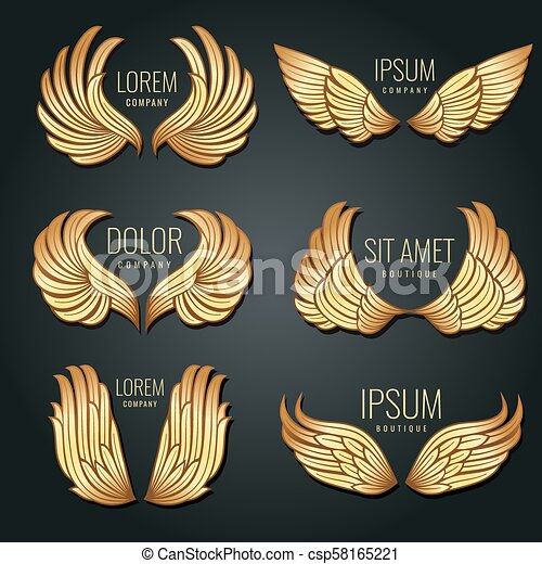 Golden wing logo vector set  Angels and bird elite gold labels for  corporate identity design