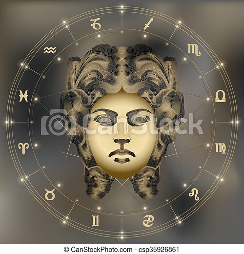 Golden woman portrait, zodiac Virgo sign - csp35926861