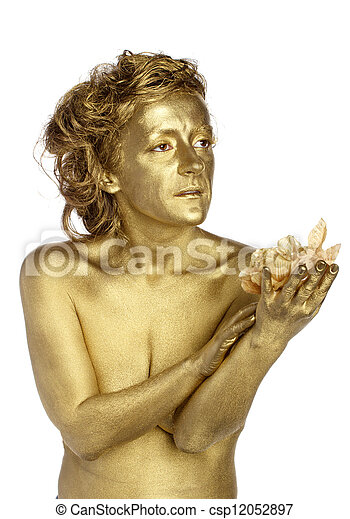 Golden woman with flower - csp12052897