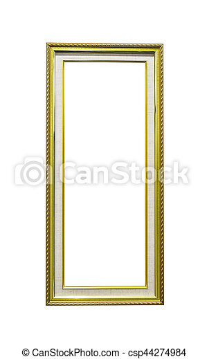 Golden wooden rectangle frame isolated - csp44274984