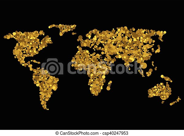 Golden world map abstract earth vector illustration golden world map csp40247953 gumiabroncs Gallery