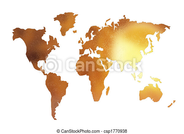 Golden world map silhouette isolated on white stock illustration golden world map silhouette isolated on white csp1770938 gumiabroncs Images