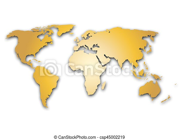Golden world map silhoutte metal like design with shadow on golden world map silhoutte metal like design with shadow on white background csp45002219 gumiabroncs Image collections