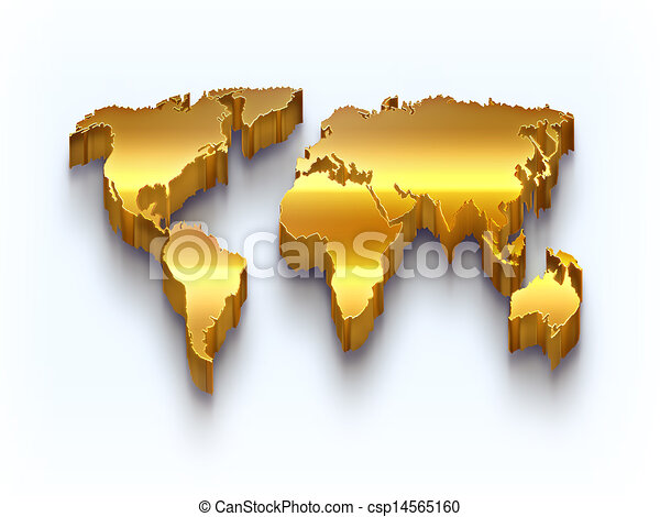 Golden world map on a light background stock illustration search golden world map csp14565160 gumiabroncs Image collections