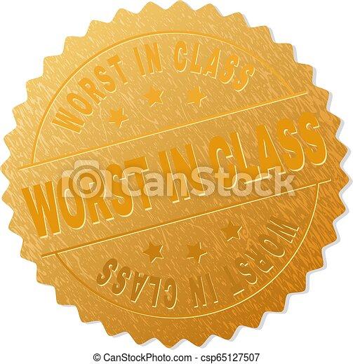Golden WORST IN CLASS Badge Stamp