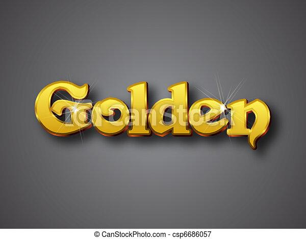 Line Art Vector Illustrator : Golden write in big gold d font vector illustrator format