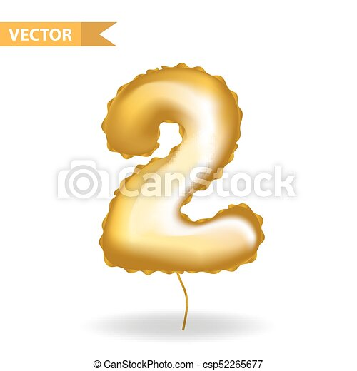 Golden yellow balloon number 2. Isolated on white background. Vector illustration. - csp52265677