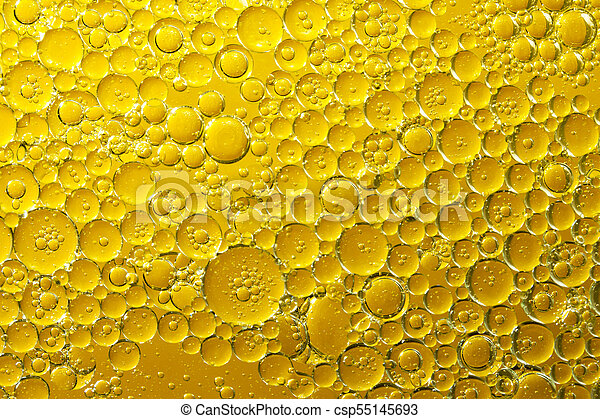 golden yellow bubble oil, abstract background - csp55145693