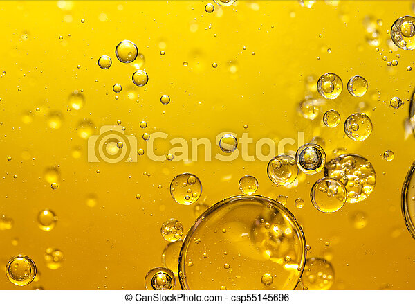 golden yellow bubble oil, abstract background - csp55145696