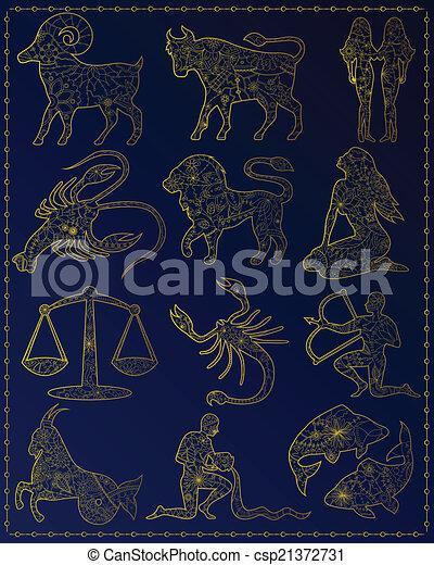Golden zodiac signs - csp21372731