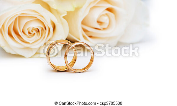 Goldene Hochzeit Begriff Ringe Rosen