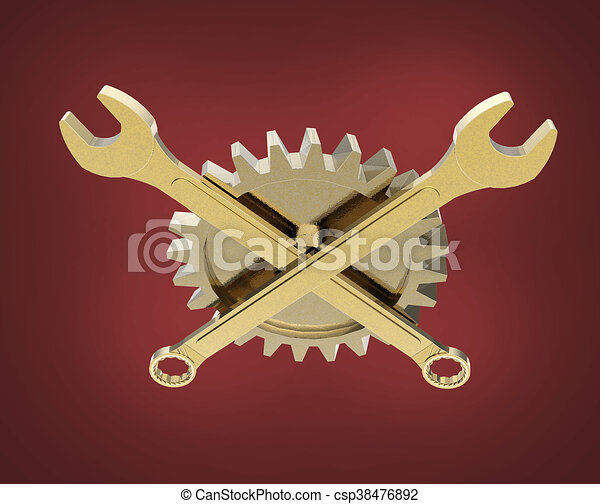 Goldenes, boden, freigestellt, schraubenschlüssel, gekreuzt ...