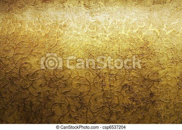 goldenes, brokat, antikisiert, muster - csp6537204