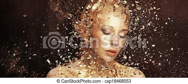 goldenes, elemente, kunst, splintering, foto, frau, tausende - csp18468053