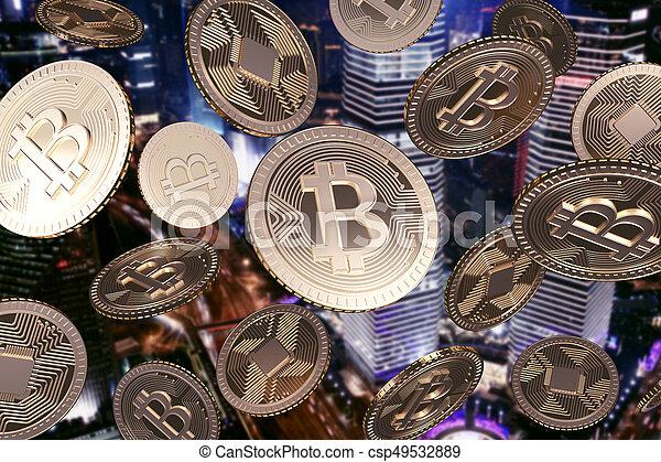 goldenes, fallender , nacht, bitcoins, stadt - csp49532889