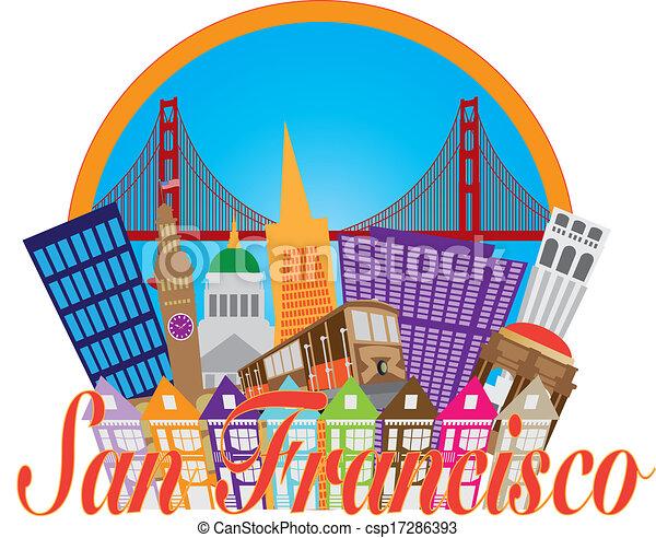 San Francisco abstrakte Skyline Golden Gate Bridge Illustration - csp17286393