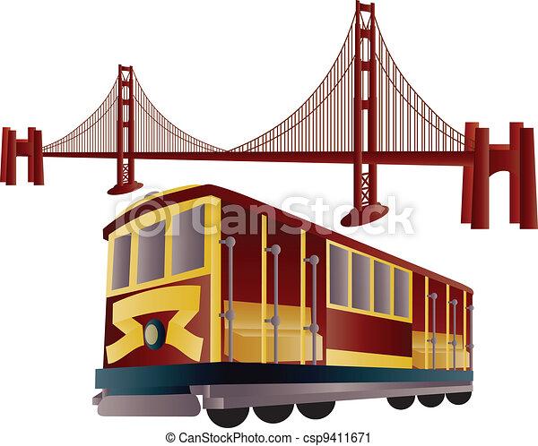 San Francisco Kabelwagen und Golden Gate Bridge - csp9411671