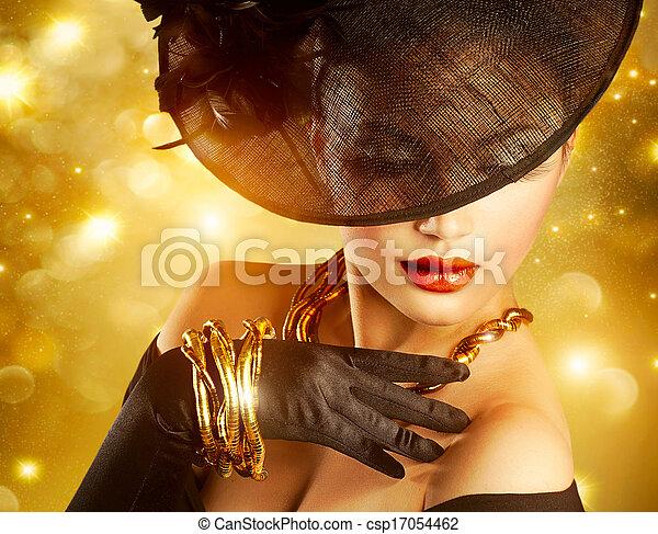 goldenes, frau, aus, luxuriös, hintergrund, feiertag - csp17054462