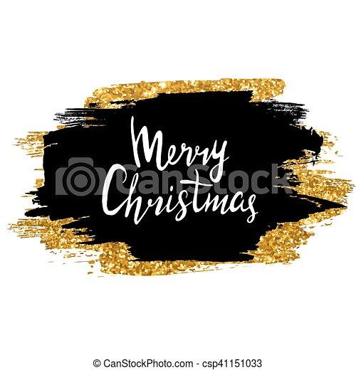 Frohe Weihnachten Glitzer.Goldenes Glitzer Zeichen Lettering Hand Hintergrund Schlag Schwarz Burste Frohlich Tinte Gezeichnet Glanzend Weihnachten