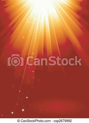 Rotes, goldenes Licht platzte vor Sternen - csp2679992