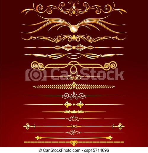 Sammlung von goldenen Regellinien - csp15714696