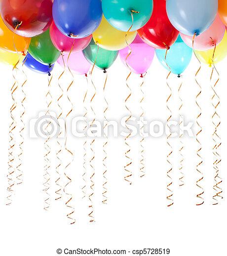 goldenes, luftballone, luftschlangen, freigestellt, helium, bunter , weißes, gefüllt - csp5728519