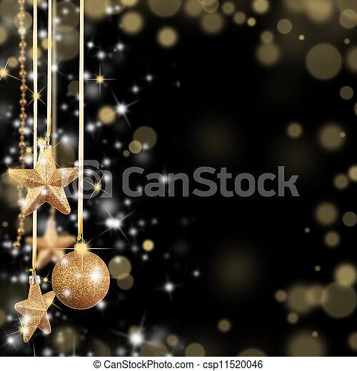 goldenes, raum, text, frei, glas, thema, sternen, weihnachten - csp11520046