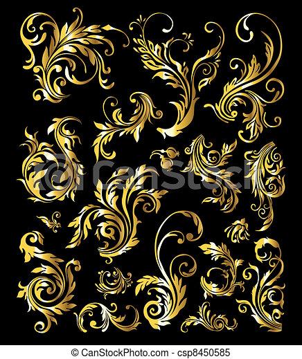 Blumenschmiere von klassischen, goldenen Dekorationselementen - csp8450585