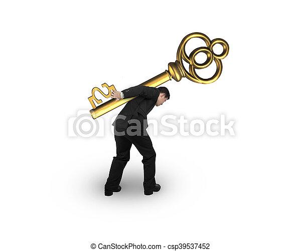 Geschäftsmann mit goldenem Schatzschlüssel in Dollarzeichenform - csp39537452