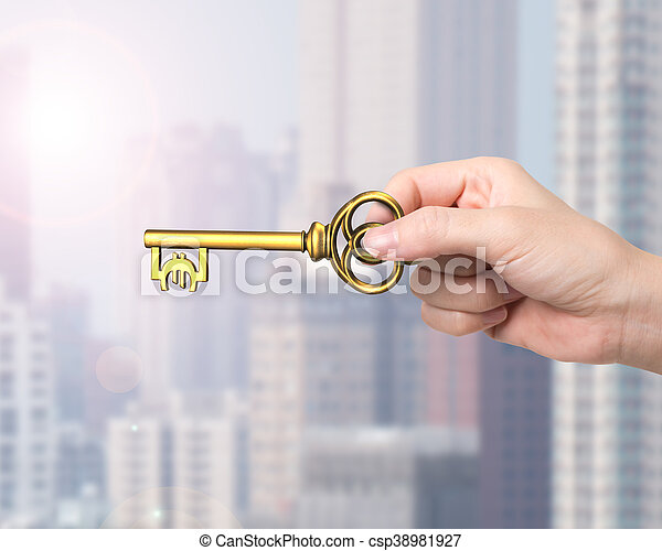 goldenes, schlüssel, symbol, schatz, hand, form, besitz, euro - csp38981927