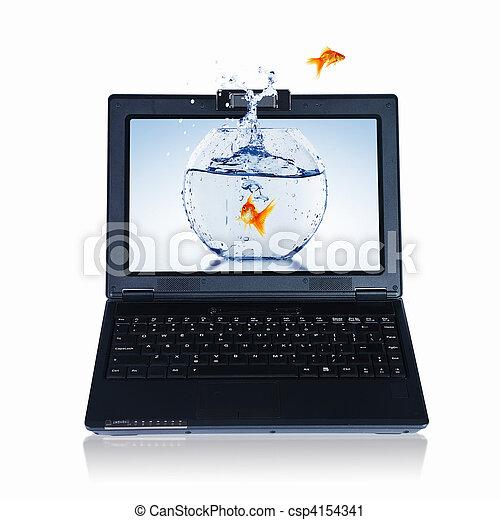 Goldfish and laptop - csp4154341