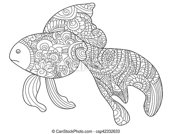 Goldfish Sea Animal Coloring Book For Adults Vector Illustration Anti Stress Adult Zentangle Style Black And White Lines Lace Pattern