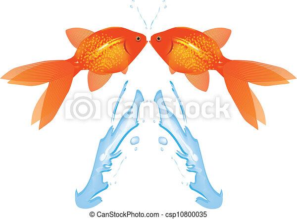 Goldfish Leaping,Vector  - csp10800035