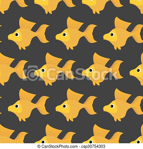 Goldfish seamless pattern. Vector background of fabulous yellow fish. Ornament of marine animals for childrens fabric. - csp30754303