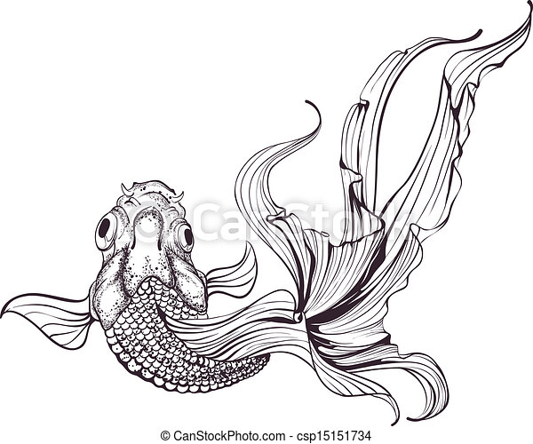 goldfish sketch on white background vector