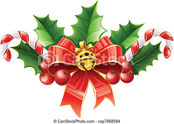 Goldglocke bl tter schleife dekoration stechpalme weihnachten rotes goldglocke bl tter - Decoration de noel dessin ...