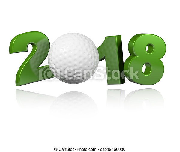 Golf 2018 Design with a white Background - csp49466080