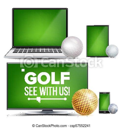 Golf Application Vector Field Golf Ball Online Stream Bookmaker Sport Game App Banner Design Element Live Match